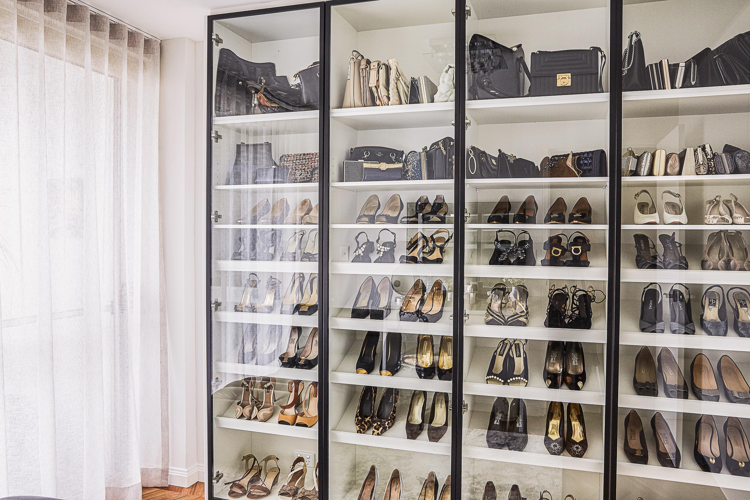 wardrobe with glass doors